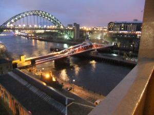 the lower and higher Tyne Bridges